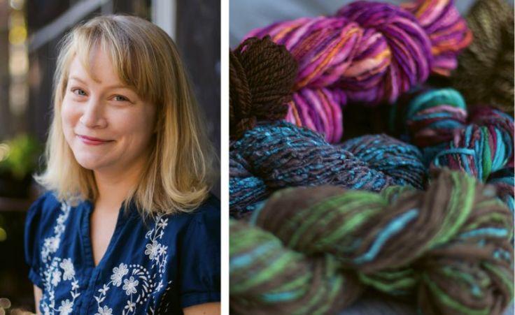 Stephanie Ondo and a selection of handspun yarn